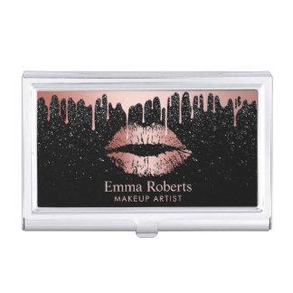Makeup Artist Dripping Rose Gold Lips Glitter Business Card Holder