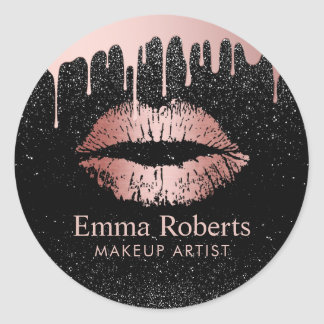 Makeup Artist Dripping Rose Gold Lips Salon Classic Round Sticker