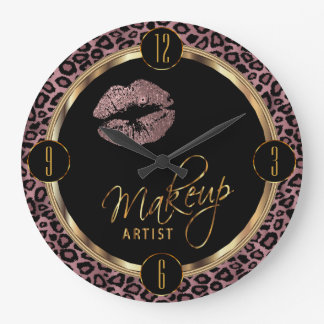 Makeup Artist Dusty Rose Lips with Leopard Print Large Clock