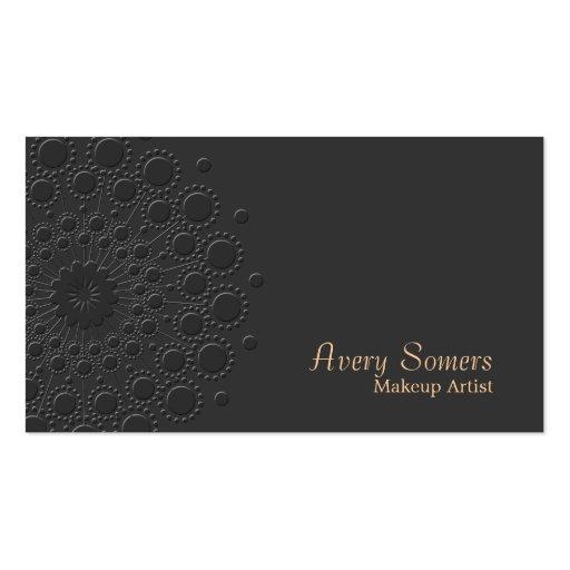 Makeup Artist Elegant Faux Embossed Rosette Black Business Cards