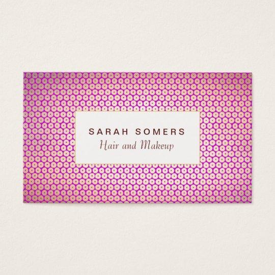 Makeup Artist Elegant Gold Magenta Pink Pattern Business Card