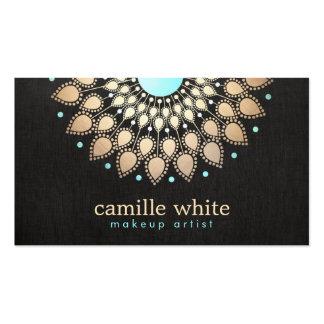 Makeup Artist  Elegant Gold Ornate Logo Black Pack Of Standard Business Cards