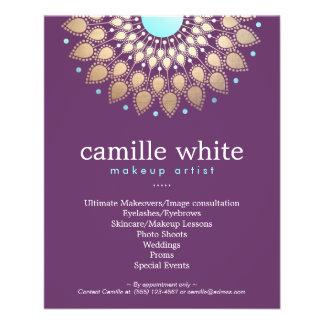Makeup Artist Elegant Gold Ornate Motif Purple Flyer