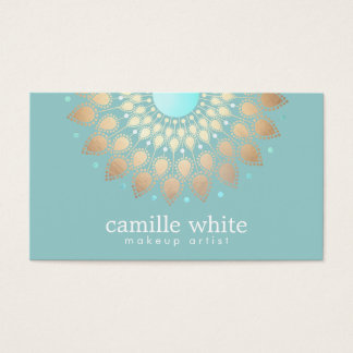 Makeup Artist Elegant Gold Ornate Motif Turquoise Business Card