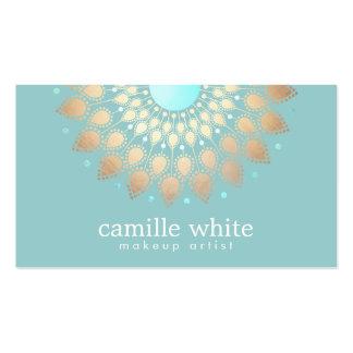Makeup Artist Elegant Gold Ornate Motif Turquoise Pack Of Standard Business Cards