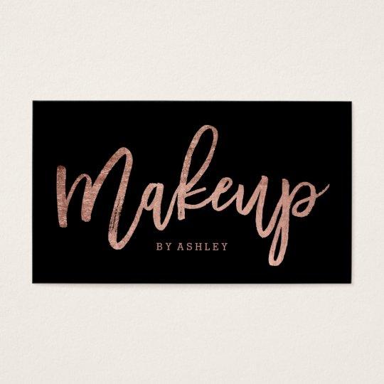 Makeup artist elegant rose gold typography black business