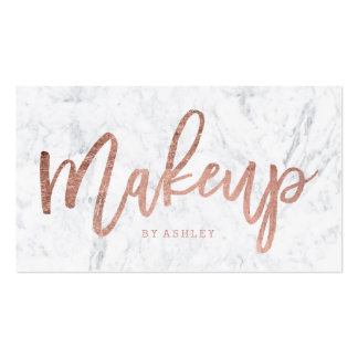 Makeup artist elegant rose gold typography marble pack of standard business cards