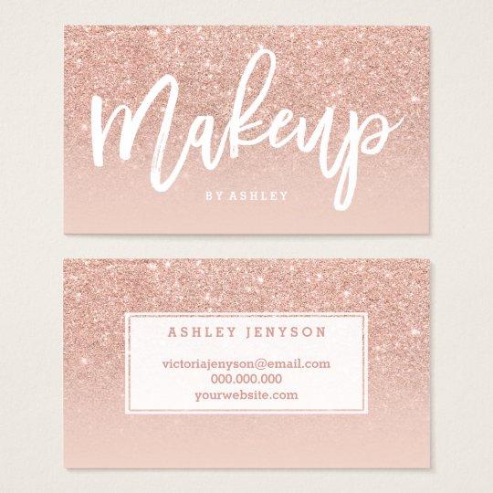 Makeup artist elegant typography blush rose gold business