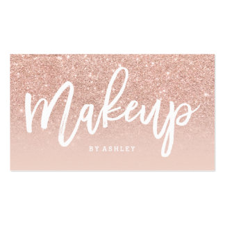 Makeup artist elegant typography blush rose gold pack of standard business cards