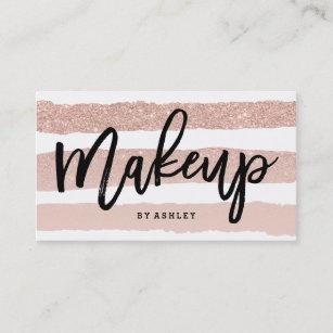 Makeup artist business cards zazzle uk makeup artist elegant typography rose gold stripes business card reheart Choice Image