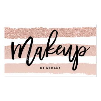 Makeup artist elegant typography rose gold stripes pack of standard business cards