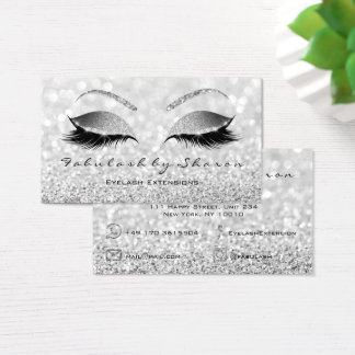 Makeup Artist Eyebrow Lashes Glitter Silver Gray Business Card