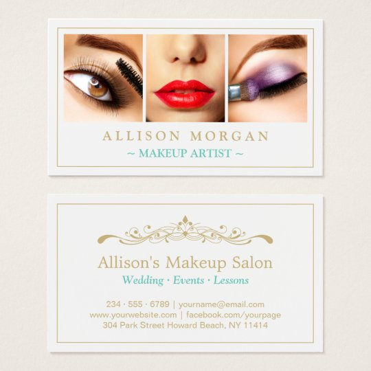 Makeup Artist Eyelashes Lips Eyeshadow Photos Business Card