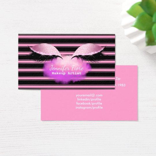 Makeup Artist Eyelashes Modern Black Stripes Pink Business