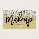 Makeup artist faux gold glitter leopard watercolor business card