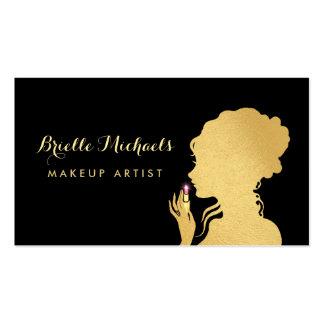 Makeup Artist Faux Gold Woman Pink Glitz Lipstick Pack Of Standard Business Cards