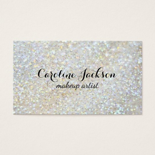 makeup artist faux white glitter business card