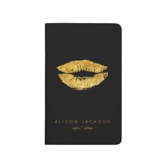 Makeup artist glam gold lips black journal