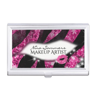 Makeup Artist Glam Pink Glitter Lips Zebra Print Business Card Holder