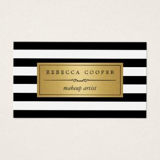 Makeup Artist - Gold Black White Stripes