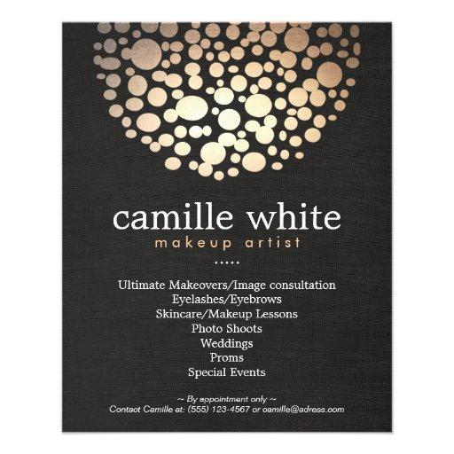Makeup Artist Gold Circles Stylish Beauty Salon Custom Flyer