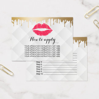 Makeup Artist Gold Drips Application Instructions Business Card