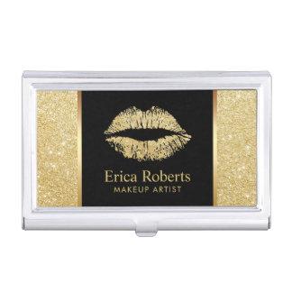Makeup Artist Gold Glitter Lips Beauty Salon Business Card Holder