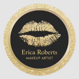 Makeup Artist Gold Glitter Lips Beauty Salon Classic Round Sticker