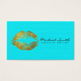 Makeup Artist Gold Lips #17 Business Card
