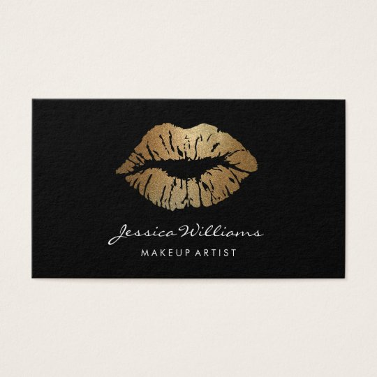 Makeup Artist Gold Lips Black Business Card