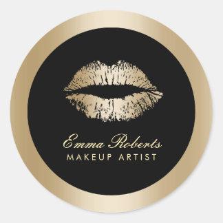 Makeup Artist Gold Lips Modern Black & Gold Salon Round Sticker