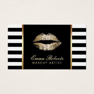 Makeup Artist Gold Lips Modern Loyalty Punch Business Card