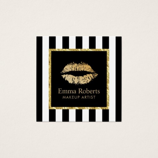 Makeup Artist Gold Lips Salon Modern Stripes Square