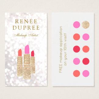 Makeup Artist Gold Lipstick 10 Punch Loyalty Business Card
