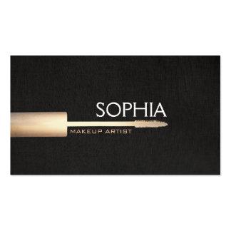 Makeup Artist Gold Mascara On Faux Black Linen 2 Business Card