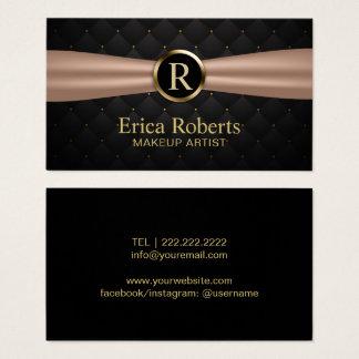 Makeup Artist Gold Monogram Luxury Quilts Salon Business Card