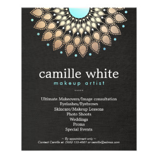 Makeup Artist Gold Ornate Motif Black Menu List 11.5 Cm X 14 Cm Flyer