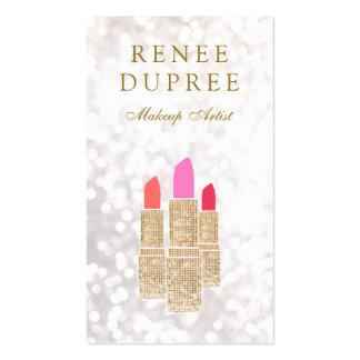 Makeup Artist Gold Sequin Lipstick Bokeh Pack Of Standard Business Cards