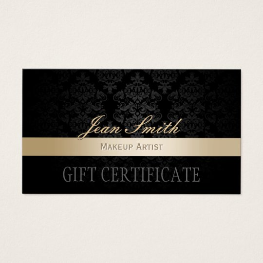 Makeup Artist Gold Striped Damask Gift Certificate