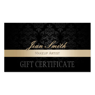 Makeup Artist Gold Striped Damask Gift Certificate Pack Of Standard Business Cards