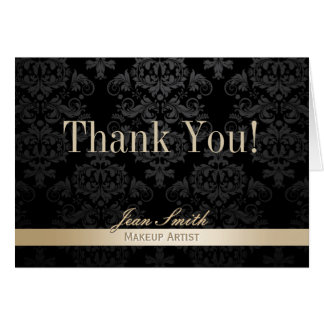 Makeup Artist Gold Striped Dark Damask Thank You Card