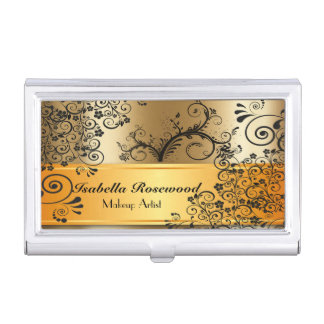 Makeup Artist Gold, Swirly Vines Business Card Holder