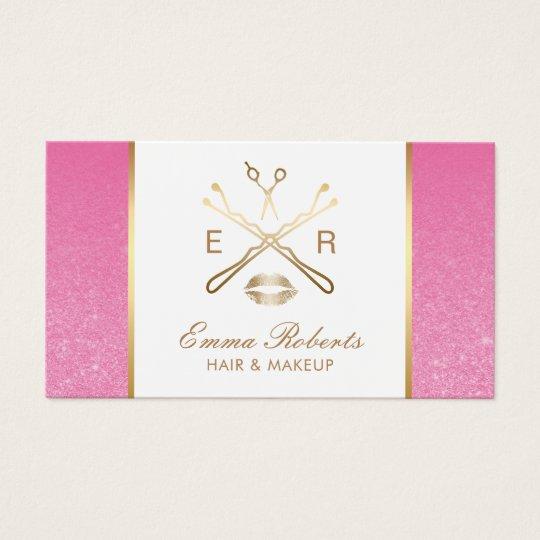 Makeup Artist Hair Salon Logo Elegant Pink Glitter