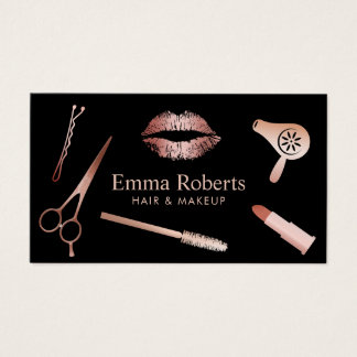 Makeup Artist & Hair Salon Rose Gold Appointment Business Card