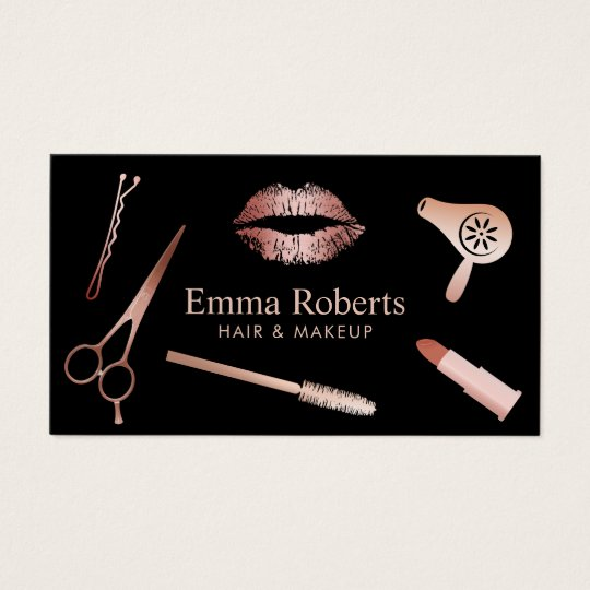 Makeup Artist & Hair Salon Rose Gold Appointment Business Card