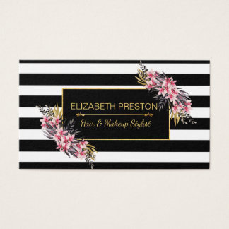 Makeup Artist, Hair Stylist, Black and Gold Floral Business Card