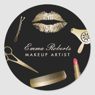 Makeup Artist Hair Stylist Black & Gold Salon Classic Round Sticker