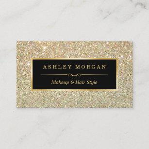 Business cards zazzle uk makeup artist hair stylist funky gold glitter business card colourmoves
