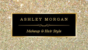Makeup artist business cards zazzle uk makeup artist hair stylist funky gold glitter business card reheart Image collections