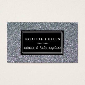 Makeup Artist Hair Stylist Funky Silver Glitter Business Card